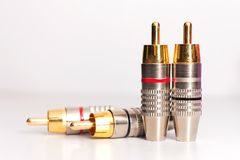 Gold RCA Jack Stockbild