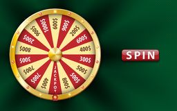 Gold realistic 3d fortune wheel, lucky game spin, luxury roulette on green background. Casino background for money stock illustration