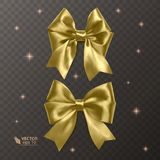 Gold, realistic vector bows on a transparent background Royalty Free Stock Photo