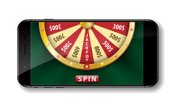 Gold realistic wheel of fortune with smartphone isolated on white. 3d Casino online lucky roulette vector illustration royalty free illustration