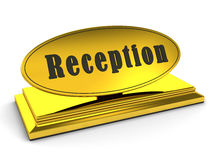 Gold reception sign over white Royalty Free Stock Photo