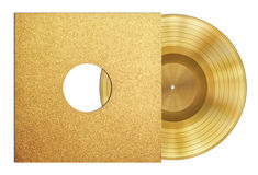 Gold record music disc award in sleeve. Isolated Stock Image