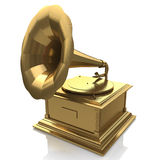 Golden gramophone. Gold record at registration information related to retro music Royalty Free Stock Photos