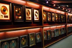 Gold records on the Wall royalty free stock image