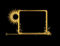 Gold rectangular element. Abstract gold frame element on a black background Royalty Free Stock Photo