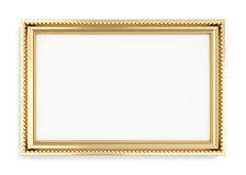 Gold rectangular frame isolated on white background. 3d rendering Royalty Free Stock Photos
