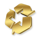 Gold Recycle Symbol. 3D Rendered gold recycle symbol Stock Photography