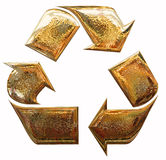 Gold recycling symbol Royalty Free Stock Photo