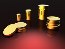Gold with Red Background. Lots of gold with a red background and light reflection Stock Image