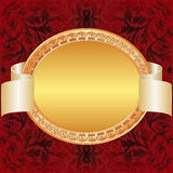 Gold red background. With gold oval frame Stock Photography