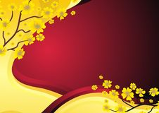 Gold and Red Background with flower Royalty Free Stock Image