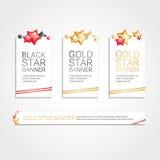 Gold red banner star background stock illustration