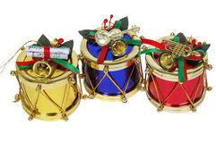 Gold, red and blue christmas drums. Close-up Stock Photo
