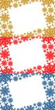 Gold, red and blue christmas frame containing snowflakes. Gold, red and blue christmas frame containing many snowflakes background Royalty Free Stock Photography