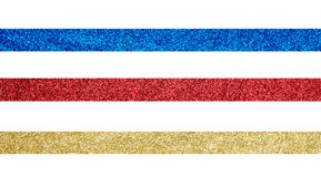 Gold, red and blue ribbon. On white background royalty free stock image