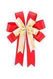 Gold and red bow isolated on white background Stock Images