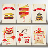 Gold red card template collection for banners,Flyers,Placards wi. Th lion,fan,firework,temple and lantern in chinese style.wording translation:Happy new year and Stock Image