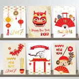 Gold red chinese card with lion,blow,monkey,temple and lantern.C Royalty Free Stock Images