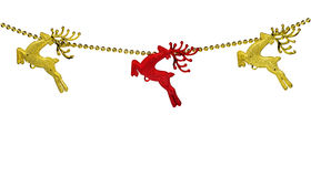 Gold and red christma reindeer isolated Royalty Free Stock Photo