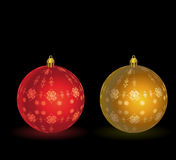 Gold - red christmas ball Royalty Free Stock Photography