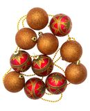 Gold and red Christmas balls Stock Image