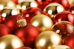 Gold an Red Christmas balls Stock Image