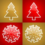 Gold and red christmas cards. With glossy christmas elements Stock Photos