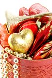 Gold and red christmas decorations Royalty Free Stock Photos