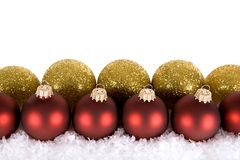 Gold red Christmas decorations Stock Photography