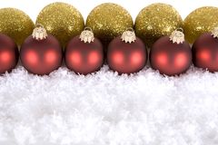 Gold red Christmas decorations Stock Images