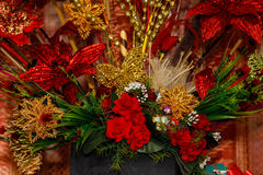 Gold and red Christmas decorations Royalty Free Stock Photo