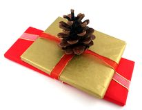 Gold and Red Christmas Presents. A gold and a red Christmas present with a pine cone decoration Royalty Free Stock Photos