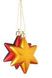 Gold and red Christmas stars Stock Photo