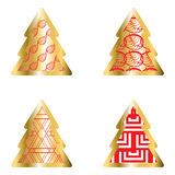 Gold And Red Christmas Tree Icon Set. Golden Christmas Tree Icon Collection With Abstract Pattern Stock Images