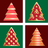 Gold And Red Christmas Tree Icon Set. Golden Christmas Tree Icon Collection With Abstract Pattern Royalty Free Stock Photography