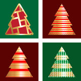 Gold And Red Christmas Tree Icon Set. Golden Christmas Tree Icon Collection With Abstract Pattern Stock Image