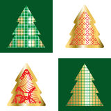 Gold And Red Christmas Tree Icon Set. Golden Christmas Tree Icon Collection With Abstract Pattern Stock Photos