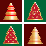 Gold And Red Christmas Tree Icon Set. Golden Christmas Tree Icon Collection With Abstract Pattern Royalty Free Stock Image