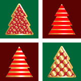 Gold And Red Christmas Tree Icon Set. Golden Christmas Tree Icon Collection With Abstract Pattern Royalty Free Stock Photos
