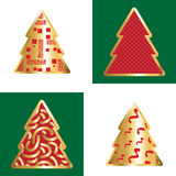 Gold And Red Christmas Tree Icon Set. Golden Christmas Tree Icon Collection With Abstract Pattern Stock Photography