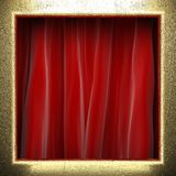 Gold on red curtain Royalty Free Stock Photo