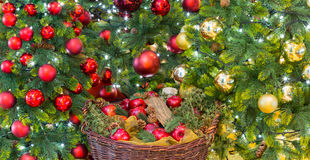 Gold and red decorations on xmas tree Royalty Free Stock Photos