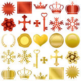 Gold and red design ornaments set Royalty Free Stock Images