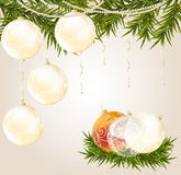 Gold, red end transparent Christmas ball Royalty Free Stock Photography