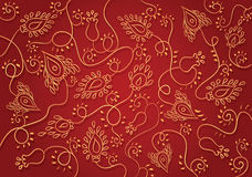 Gold on red floral pattern, vector Royalty Free Stock Photography