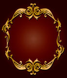 Gold red frame. Gold frame on a red gradient background Royalty Free Stock Photo