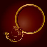 Gold red frame circular frame Royalty Free Stock Photography