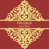Gold and red frame in vintage rich royal style. Stock Photography