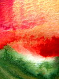 Gold, Red, Green and Orange Watercolor Royalty Free Stock Photo