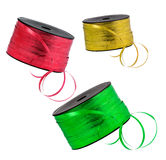 Gold, red and green ribbons Stock Photography